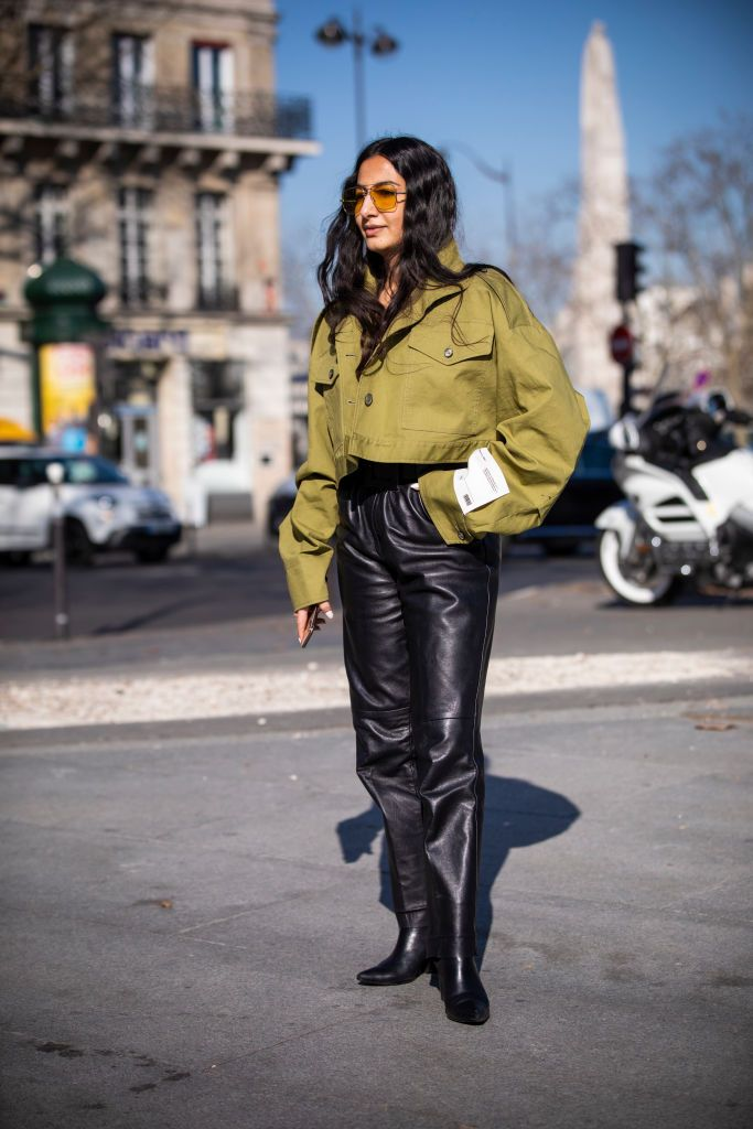 leather pants street fashion